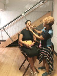 Charlene applying natural glam makeup